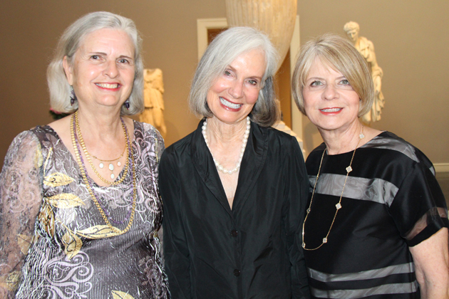 "Santa Barbara Museum of Art Women's Board president Carolyn Williams, center, with event co-chairs Kathy Weber and Gwen Baker at the 11th ""Mystery in Masterpieces: A Mystery Hunt at the Museums"" fundraiser. presented by the Women's Board."