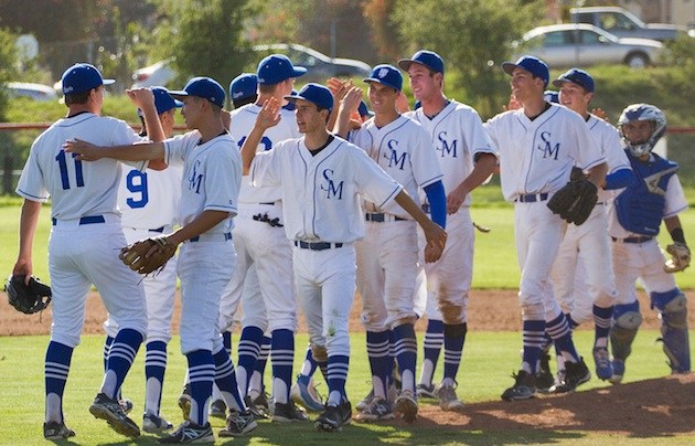The San Marcos baseball celebrates after beating rival Dos Pueblos, 4-2, at Joe Mueller Field.