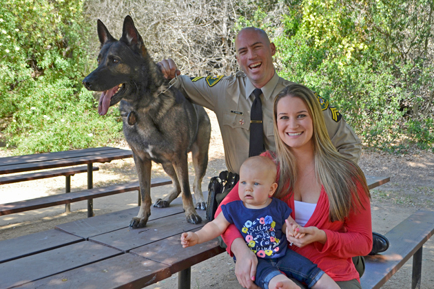 Sheriff's K-9 Gango retired in 2016 to spend more time with his family, Senior Deputy Patrick Hayes and his wife, Stefanie, and their daughter Madison.