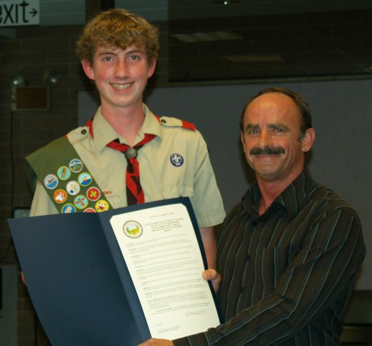 Eagle Scout candidate Johnathan Baird, 15, recently accepted a proclamation from Carpinteria Mayor Gregg Carty declaring April as DMV/Donate Life California Month.