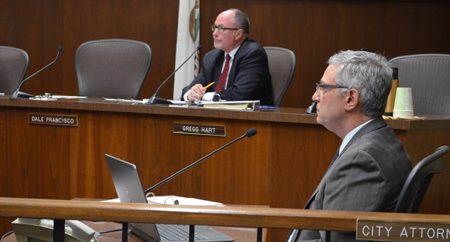 <p>Santa Barbara City Attorney Ariel Calonne, right, seen here at a City Council meeting, says 19 of the 30 named defendants dismissed from the proposed gang injunction were no longer deemed a public nuisance threat.</p>