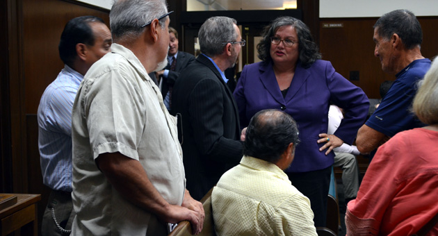 <p>Santa Barbara Councilwoman Cathy Murillo, center, talks with attorney Barry Cappello, left, and district election advocates during a break in Tuesday&#8217;s meeting. The City Council later voted to hold a workshop to discuss election options to improve representation for people who feel disenfranchised under the at-large system.</p>