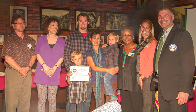 <p>The Weddle family, at center &#8212; parents Ron and Serena, first-grader Charlie and preschooler Max &#8212; are honored as the Adams Family of the Month for March from Adams Elementary School third-grader teacher Kathy Escobar, left, Principal Amy Alzina, Rotary Club of Santa Barbara North President Michael Hofmann and community service chairman Tom Jacobs.</p>