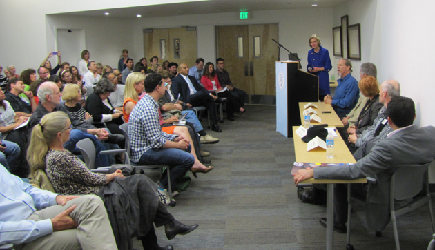 <p>Rep. Lois Capps, D-Santa Barbara, hosts a panel discussion after a recent screening of <i>A Place at the Table</i>, a documentary about hunger in America.</p>