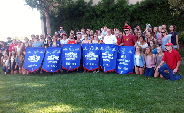 <p>The San Marcos High School girls track and field, girls soccer, boys golf, boys basketball, boys water polo, and boys track and field teams with their CIF Southern Section-Ford Academic Championship banners.</p>