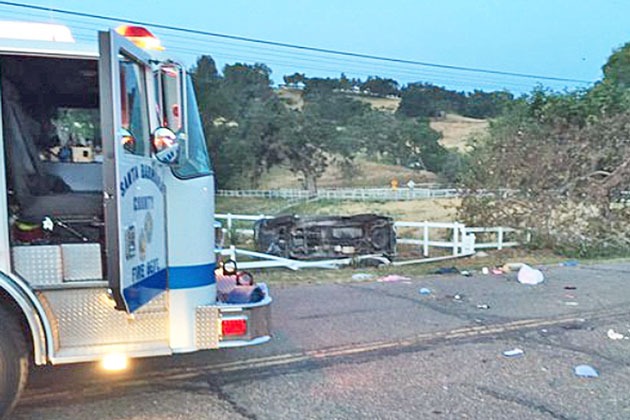 A woman suffered major injuries Saturday when her pickup truck overturned after she swerved to avoid another vehicle that had struck and killed a donkey on Highway 154 in Los Olivos.