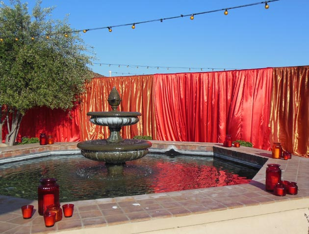 The Santa Barbara Historical Museum courtyard is transformed into a crimson oasis.