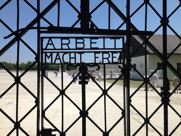 <p>The gate at the entrance to Dachau.</p>