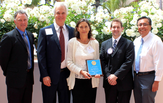 <p>From left, Steve Keithley of the Santa Barbara County Education Office, Scott Bailey (Julie Kluss&#8217; husband), Julie Kluss, Roland Christopher of the Rotary Club of Santa Barbara and Santa Barbara Junior High School Assistant Principal Fred Madrigal.</p>