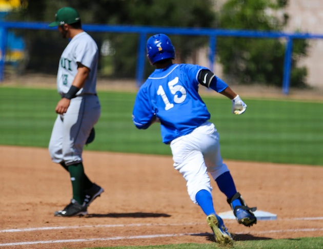 UCSB's Devon Gradford reaches base on a single in the fifth inning during the Gauchos' 6-3 win over Hawaii.