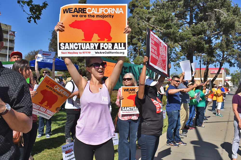 Santa Maria Valley educators marked May Day on Monday afternoon with a march down Broadway, and joined labor union workers for a rally.