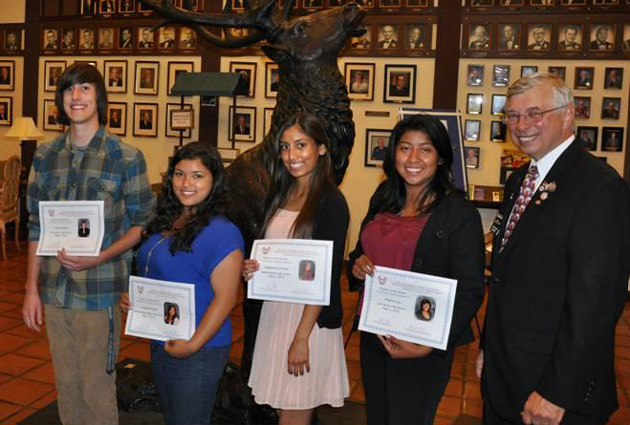 Santa Barbara Elks Lodge No. 613 President Gary Petlow, right, honors May Students of the Month, from left, Shane Williams of Dos Pueblos High School, Anjanette Aguilera of Bishop Garcia Diego High School, Josephina Carrisales of Santa Barbara High School and Shannon Lol of San Marcos High School.