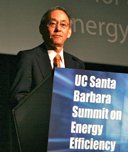 Steven Chu, former U.S. secretary of energy, delivers the opening keynote address. (Sonia Fernandez photo)