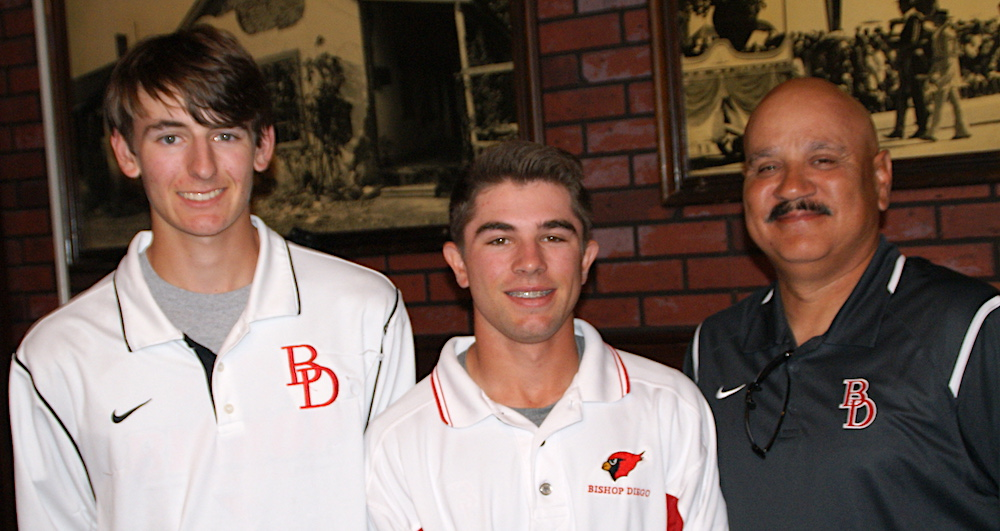Bishop Diego baseball coach Ralph Molina is joined by Travis Pierce and Matthew Pate at Monday's Athletic Round Table press luncheon.