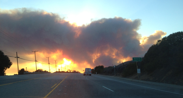 The Springs Fire in Camarillo continued to rage at dusk Thursday evening. (Michael Furukawa photo)