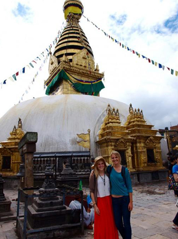 Westmont College students Tyler Merkel and Kelsey Canon in Nepal as part of Emmaus Road 2012. (Westmont College photo)