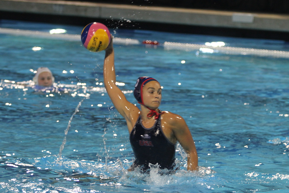 Jewel Roemer, of Dos Pueblos High, scores on a penalty shot for Team USA in a 12-7 victory over Kazakhstan in the opening game at the FINA Intercontinental Cup.