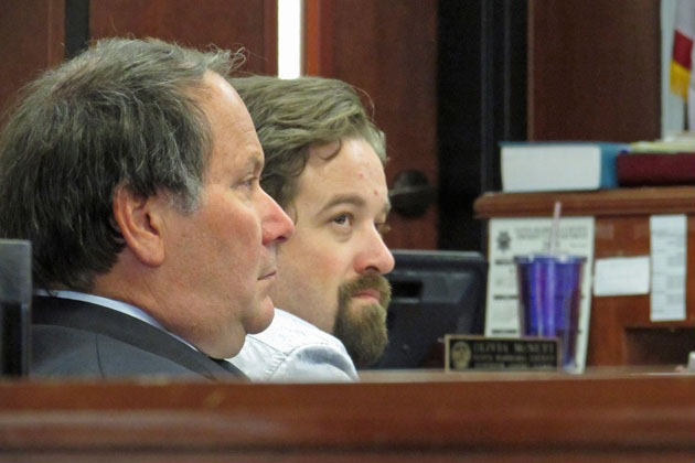 Defendant Benjamin Bettencourt, right, and attorney Darryl Genis appear in court in early April for closing arguments.