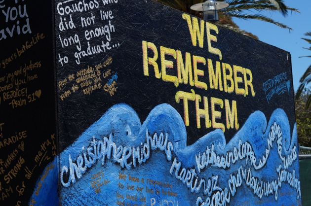 A memorial wall remains on the UCSB campus, outside The Arbor, since first being erected in the days after the May 23, 2014, tragedy in Isla Vista.