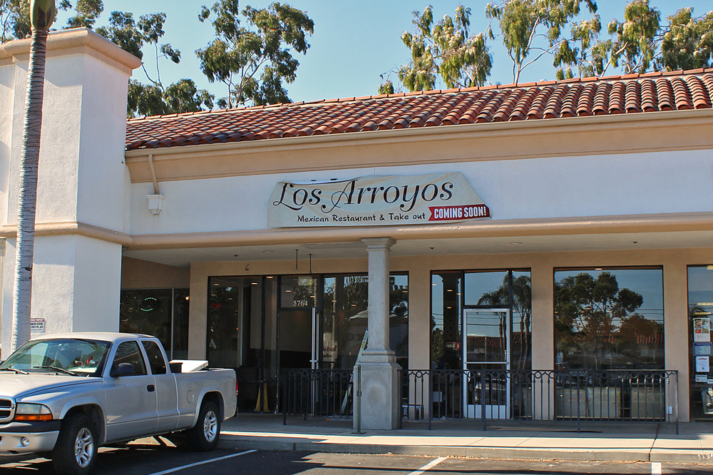 The upcoming Los Arroyos Mexican Restaurant & Take Out at 5764 Calle Real will feature a patio, a full bar menu and a happy hour from 3 p.m. to 6 p.m. Monday through Friday.