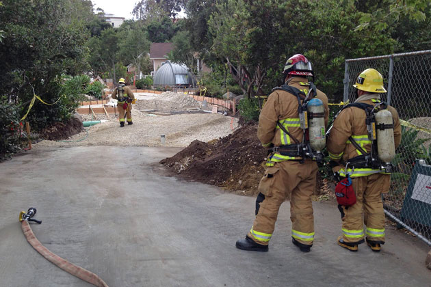 Fire crews respond to a reported gas line break Tuesday afternoon at the Santa Barbara Museum of Natural History.