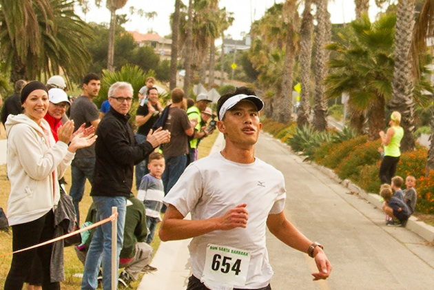 Long-time local road racer Ricky Ho wins the 5k run in the Nite Moves season opener.