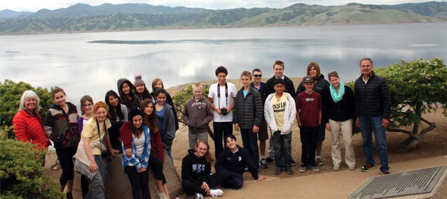<p>Anacapa students stop at San Luis Reservoir, a major storage reservoir for the State Water Project, as part of a five-day trip to Northern California with a special focus on water issues.</p>