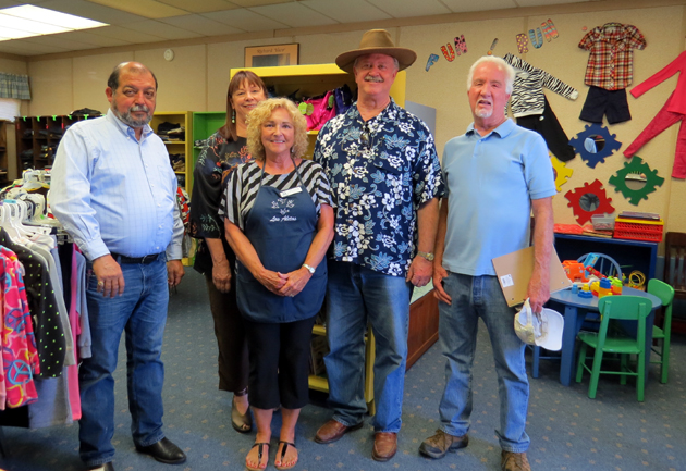<p>From left, Goleta City Councilman Roger Aceves, Councilwoman Paula Perotte, Mayor Michael Bennett and Councilman Jim Farr visit Operation School Bell behind the Goleta Valley Community Center. In front is Julie Cannata, chairwoman of Operation School Bell. The visit was part of a tour of the Community Center and surrounding properties as part of the city's Civic Center Feasibility Study, which will evaluate whether the Community Center property could become a Civic Center that would include Goleta City Hall. Operation School Bell, facilitated by members of Las Aletas, provides new school clothes, shoes, backpacks and other school supplies to children in need in the Goleta Union School District. More than 600 children were served during the 2013-14 school year. Las Aletas is an auxiliary of the Assistance League of Santa Barbara.</p>