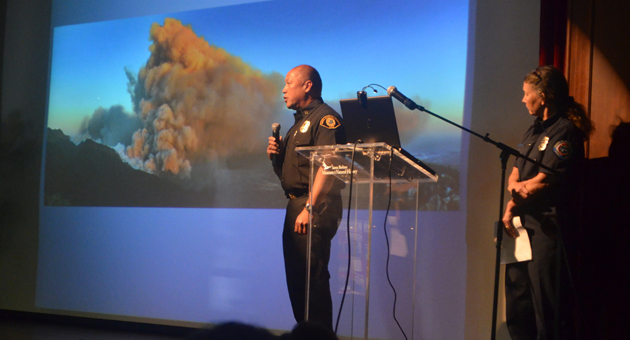 <p>Santa Barbara County Fire division chief Woody Enos, who manages operations during major fires, addresses Thursday&#8217;s wildland outlook briefing.</p>
