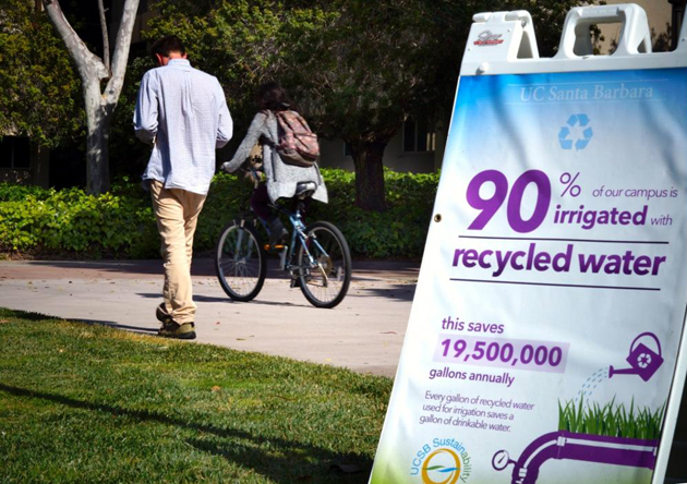 <p>UCSB Sustainability has posted signs to let people know that 90 percent of the campus is irrigated with recycled water.</p>
