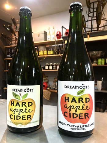 Dreamcote Wine Co.'s Original Dry Cider delivers a cool, crisp apple flavor while straying from an overly sweet finish. Its second release, Chardonnay Barrel Seasoned Hard Apple Cider, colors outside the lines of a traditional dry cider and is intriguingly complex.