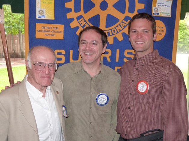 The Rotary Club of Santa Barbara Sunrise recently honored three generations of Rotarians — Eric Boehm, left, Steve Boehm and newly inducted member Jeff Boehm.