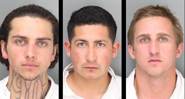 Suspects Michael Hardy, left, Eddie Mesa Jr. and Sean Crane.