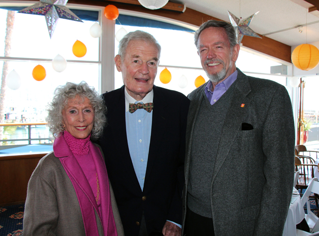 Larry Crandell, center, with Betty and Stan Hatch, celebrates his 90th birthday with a party at the Santa Barbara Yacht Club benefiting the Foundation for Santa Barbara City College. (Melissa Walker / Noozhawk photo)