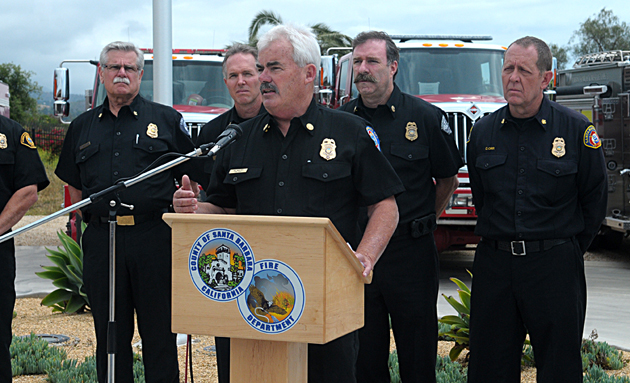 Santa Barbara City Fire Department Chief Pat McElroy speaks at Wednesday's news conference about the upcoming fire season.