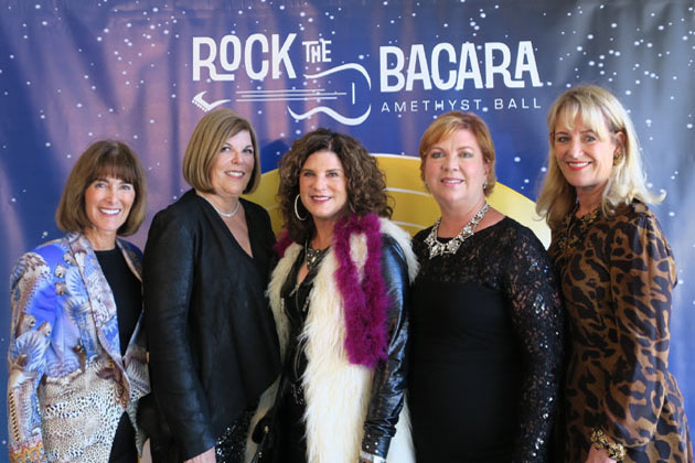 Event co-chairs, from left, Anne Smith Towbes, Diana MacFarlane, Betsy Turner, Holly Murphy and Susan Neuman at the 30th annual Amethyst Ball to benefit the Council on Alcoholism & Drug Abuse.
