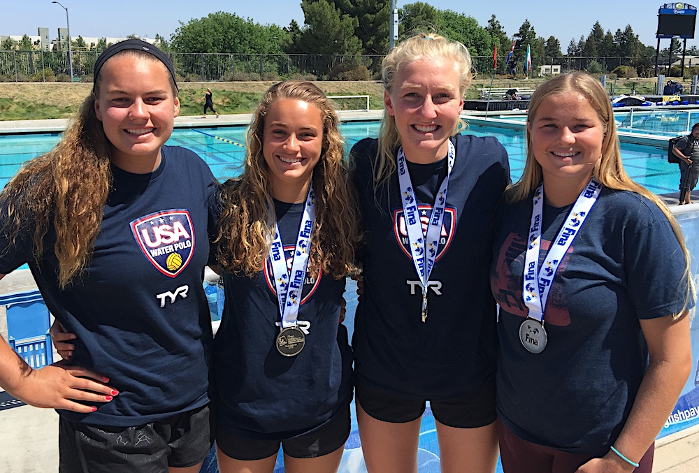 Four Santa Barbara area prep water polo standouts played for the USA Water Polo senior women's national team at the FINA Intercontinental Tournament. They are, from left, Abbi Hill, Jewel Roemer, Paige Hauschild and Ryann Neushul.