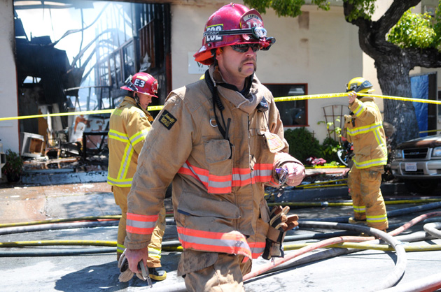 Santa Barbara firefighters respond to last year's blaze at the Vasari Plaster & Stucco building on East Haley Street.