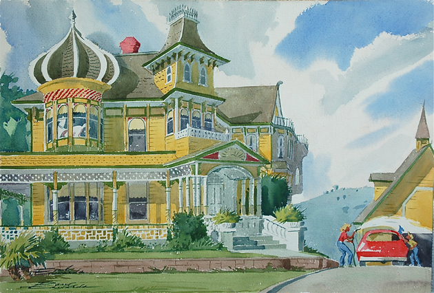 Artwork by Valle Verde resident Paul Edwards, a 97-year-old who worked at Walt Disney in the 1940s.