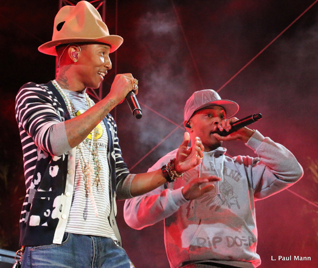 <p>Singer/songwriter Pharrell Williams, left, is joined by rapper TI on the Outdoor Theater stage at the Coachella Valley Music and Arts Festival.</p>