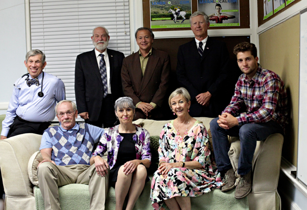 <p>The cast of <em>The Coot Elimination Committee</em>: back row from left, Jerry Oshinsky, Stuart Orenstein, Ed Giron and Sandy McOwen; seated from left, Tim Whitcomb, Deborah Helm, Julie Allen and Char Smith.</p>
