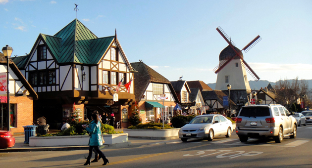 <p>A bustling street in Solvang, a Santa Ynez Valley town proud of its Danish heritage. The major California tourist attraction brings in more than 1 million visitors per year.</p>