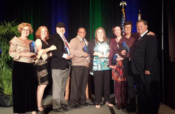 <p>Representatives of the Santa Barbara County Department of Child Support Services accept their Outstanding Group Achievement Award on Wednesday from the California Child Support Directors Association.</p>
