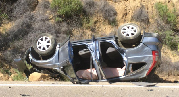 A Honda CRV ended up on its roof Sunday afternoon after a crash on Highway 154 near Lake Cachuma. (Karina Evans photo)
