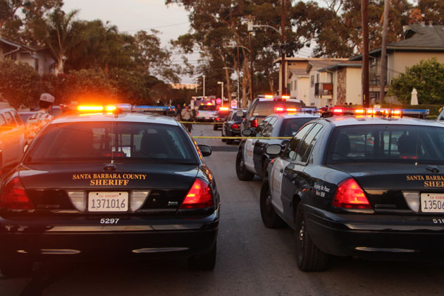 Emergency personnel converged on the 6500 block of Sabado Tarde Road in Isla Vista on Monday evening after two UCSB students were shot.