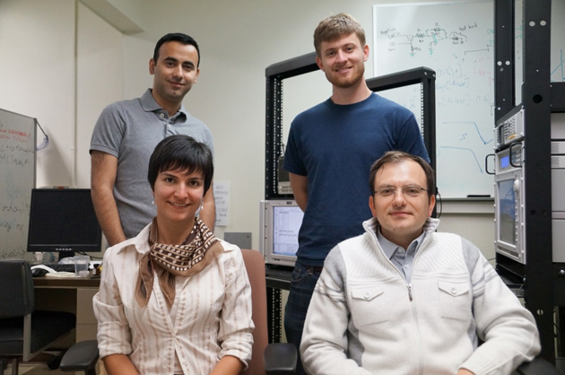 The research team, clockwise from top left, Farnood Merrikh-Bayat, Brian Hoskins, Dmitri Strukov and Gina Adam. Not in photo: lead author Mirko Prezioso.