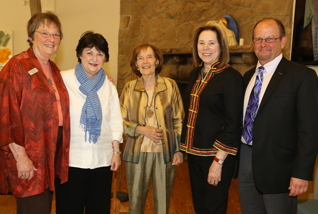 <p>From left, La Casa de Maria Executive Director Stephanie Glatt, Vicki Riskin, honoree Lillian Lovelace, Christine Garvey and Steve Jacobsen at the dedication ceremony for La Casa de Maria's new Lovelace Lounge.</p>