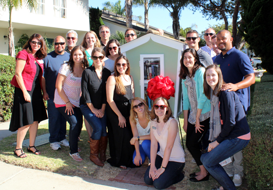 <p>The Leadership Santa Barbara Class of 2014 stand with their finished Little Outdoor Library. Pictured are, back row from left, Alice Villarreal Redit, client services coordinator for HACSB, Esteban Zambrano, Rob Pearson, executive director and CEO of HACSB, Stacey Lydon, Scott Love, Winther Martinez, Brad Rahrer, Eric Zett, Matt McLaughlin and Hammurabi Days; front row from left, Rachel Gann, Corey Sherrell, Tristin Sherman, Laura Yanez, Madeline Ward, Annie Jensen, Danelle Mangone and Monica Ray. Not pictured: Ginger Anderson and Jonathan Abad of Leadership SB Class of 2014.</p>