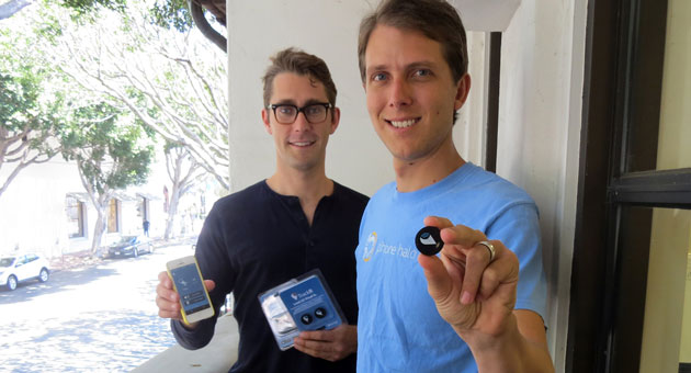 <p>Christian Smith, left, and Chris Herbert are co-founders of Phone Halo, a Santa Barbara tech company that creates devices to help customers locate lost phones, wallets, keys and more. The UCSB graduates came up with the idea and then won the New Venture Competition in 2009.</p>