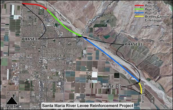 <p>Santa Maria River Levee project work map.</p>